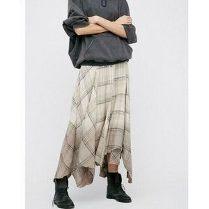 New Free People Dipped In Dreams Plaid Maxi Skirt